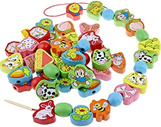 Elloapic 63 Piece Colorful Wood Animal Pair On The Rope Lacing Beads Early Teaching Toy