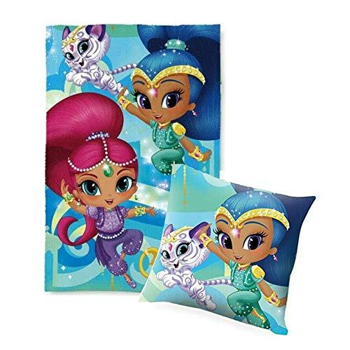 SRV Hub Juego de manta y cojín de Disney para niños, 2 piezas, hecha de poliéster, multicolor y súper suave, idea de regalo para niñas (juego de manta brillante y brillante)
