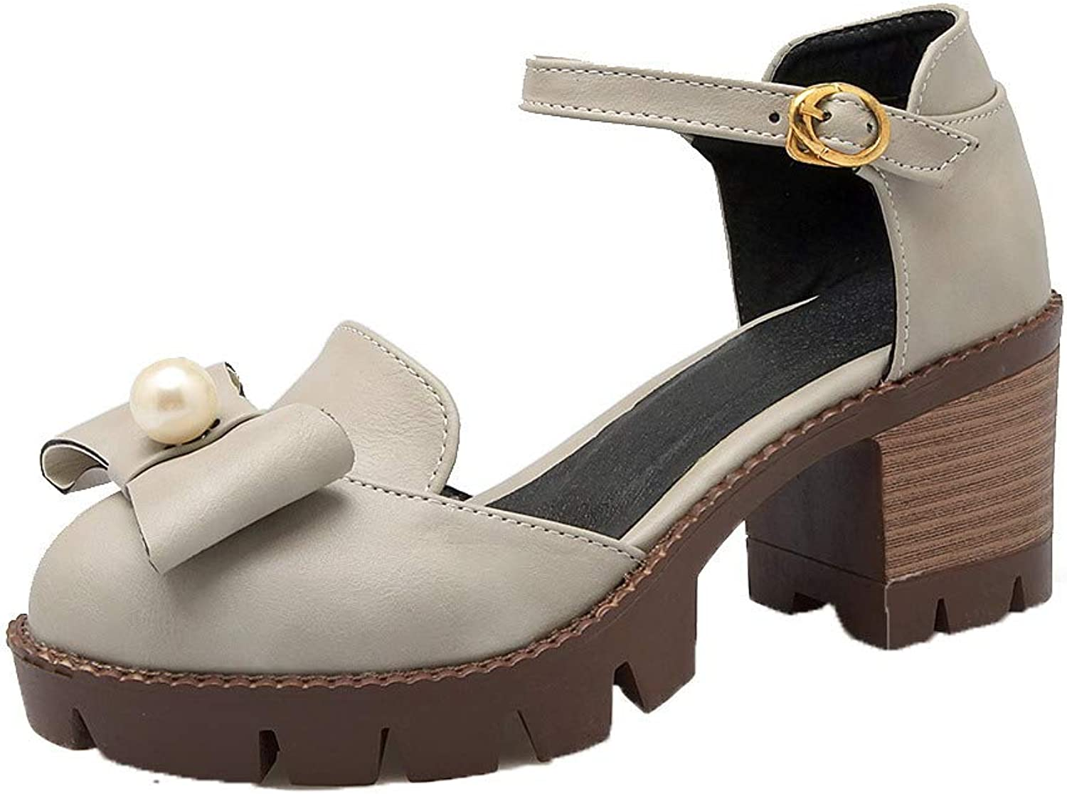 AmoonyFashion Women's Round-Toe Kitten-Heels PU Solid Buckle Sandals, BUSLS005498