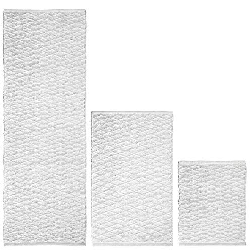 mDesign Soft 100% Cotton Luxury Rectangular Spa Mat Rugs, Water Absorbent, Diamond Design - for Bathroom Vanity, Bathtub/Shower, Machine Washable - Runner, Standard & Small Rug - Set of 3 - White