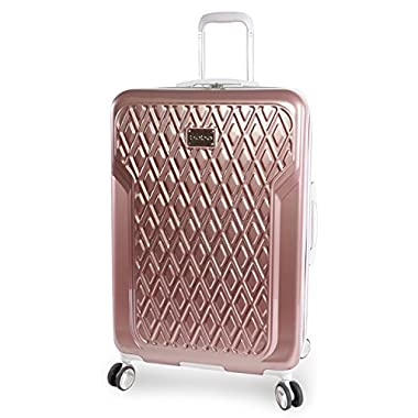 BEBE Women's Luggage Stella 29  Hardside Check in Spinner, Rose Gold