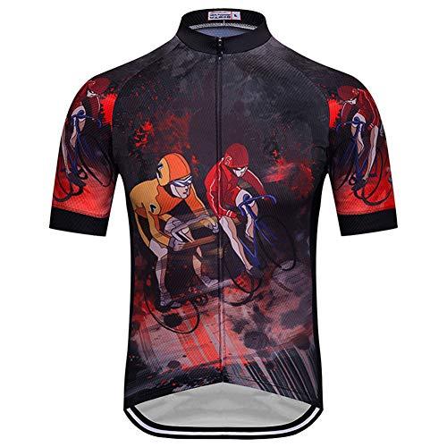 Maglie da ciclismo compresso da uomo, maglie da ciclismo traspiranti a maniche corte con abbigliamento da bici ad asciugatura rapida estivo con cerniera completa