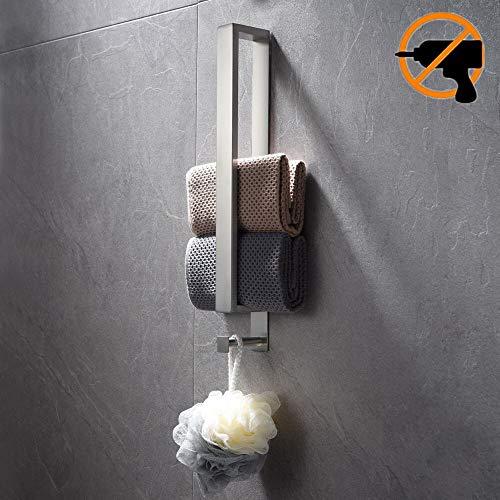 Lolypot Edelstahl Handtuchhalter, Handtuchstange Ohne Bohren, Gästehandtuchhalter Selbstklebend, Gebürstete Badetuchhalter kleber, Gästehandtücher Handtuch Halter 40cm mit Haken für Badezimmer