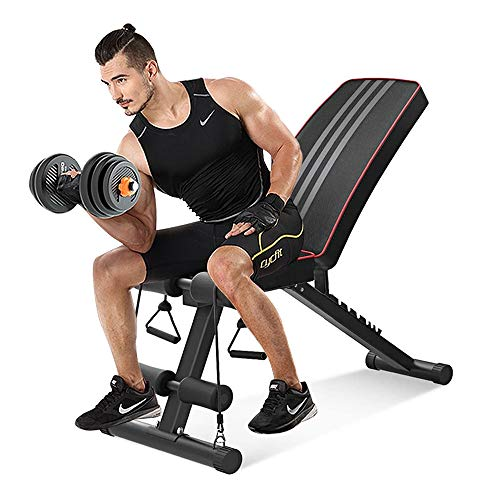 OUNUO Adjustable Folding Weight Bench (2020 Upgraded Version), 330lbs Capacity Decline Incline Bench Press Workout Bench for Strength Training Home Gym