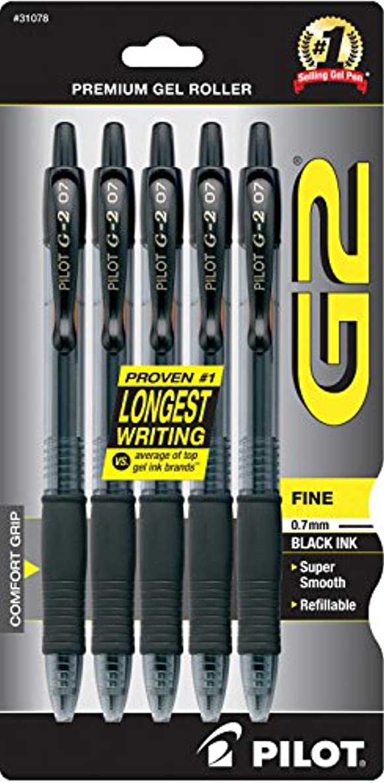 Pilot G2 Retractable Premium Gel Ink Roller Ball Pens, Fine Point, 5-Pack, Black Ink (31078)