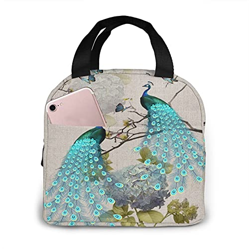Peacock Portable Insulated Lunch Bag Woman Waterproof Tote Bags Small Handbag,Shopping Office/School/Picnic/Travel/Camping