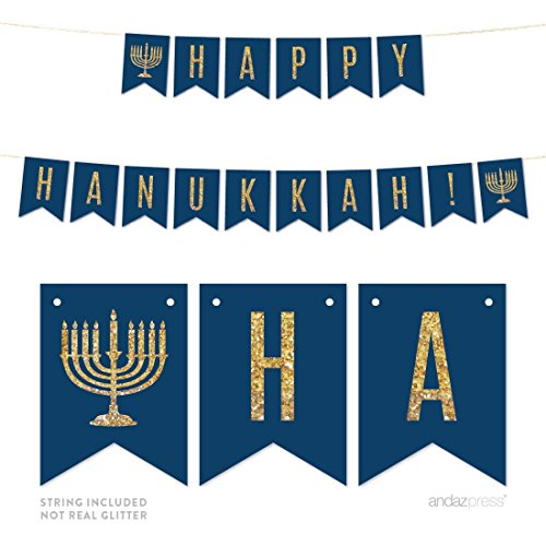 Andaz Press Gold Glitter Print Hanging Pennant Party Banner with String, Happy Hanukkah!, 5-Feet, 1-Set, Navy Blue and Gold Decor Paper Decorations, Not Real Glitter, Includes String