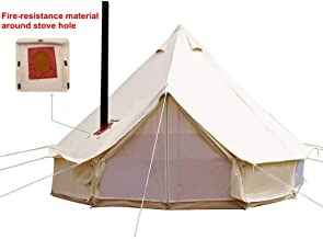 UNISTRENGH 4 Season Large Waterproof Cotton Canvas Bell Tent Beige Glamping Tent with..