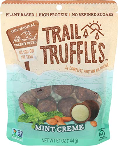 TRAIL TRUFFLES – Dark Chocolate Nut-Butter Filled Protein Bites – Healthy, Plant Based, Gluten Free, Dairy Free, Soy Free, Non-GMO Snacks (Mint Crème, 1 Pack)