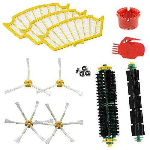ASP-ROBOT Ersatzteile Roomba Serie 500 505 510 521 530 531 532 534 535 545 550 552 555 560 562 564 565 570 571 580 581 585. 3x filter, 4x Seitenbürsten, 1x Center Roller und Zubehör. Pack kit