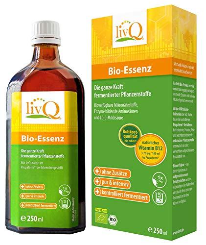 livQ® Bio-Essenz - Fermentiertes Naturkonzentrat mit Natürlichen Vitaminen und Milchsäurebakterien (Unterschiedliche Geschmacksrichtungen) (Bio-Essenz Pur, 250ml)