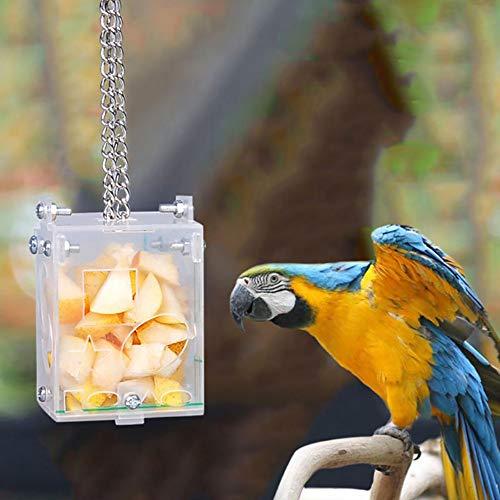 Kuai Hängende Papageien Vogelhäuschen, Eichhörnchenfester Transparenter Lebensmittelbehälter, Food Box Design No Mess, Für Indoor Outdoor Garden