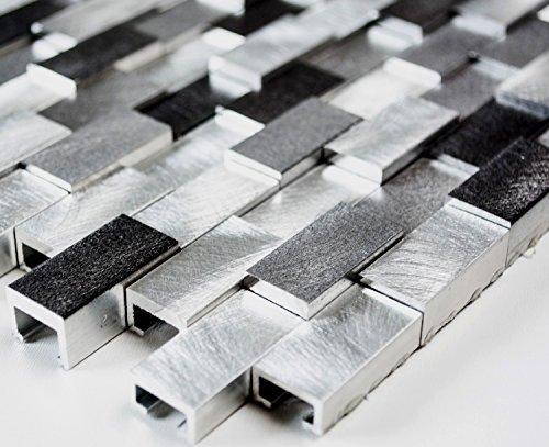 Mosaico di alluminio mosaico piastrelle Brick in alluminio 3d Mix di rete argento/nero piastrelle specchio parete in metallo cucina bagno WC