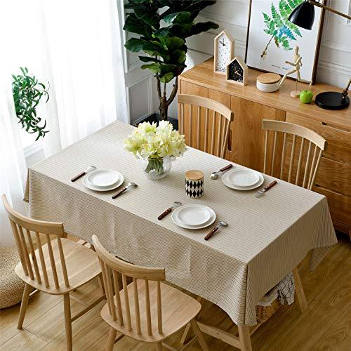 Mantel para El Hogar De Algodón Y Lino De Color Puro, Mantel Rectangular para Mesa De Centro, Mantel A Rayas Rosa, Azul, Marrón 140x200cm
