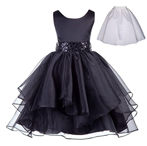 ekidsbridal Wedding Ruffles Organza Flower Girl Dress Sequin Toddler Pageant Free Petticoat 012s Black