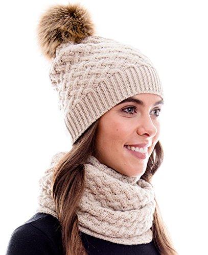 Hilltop Conjunto de invierno, formado por una bufanda de señora y un gorro de punto a juego. Gorrito con pompón. Colores y diseños modernos, 3A-crema
