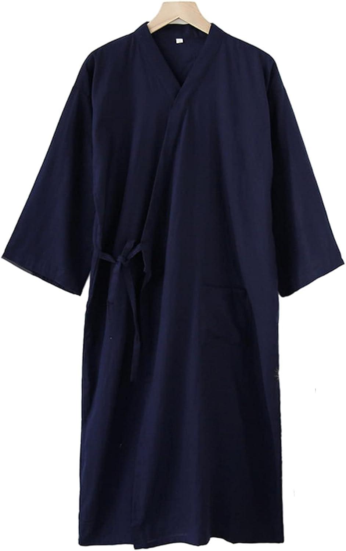 WIITON Japanese Loose Nightgown Men's Cotton Kimono Casual Home wear Spring and Autumn Comfortable Pajamas