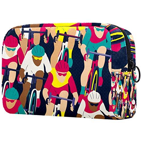 Bolsa de cosméticos Bolsa de Maquillaje para Mujer para Viajar Llevar cosméticos Cambiar Llaves, etc.,Ciclista en la Carrera de Bicicletas