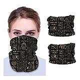 2 Pieces Motorcycle Neck Gaiters Half Face Mask Functional Scarf Headwear Outdoor Masks Sport Bandana Women Men Balaclava,Egyptian Hieroglyphs and Deities Gold On Black