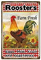 オンドリファーム新鮮な卵牛乳と野菜ファーマーズ錫サインヴィンテージノベルティ面白い鉄の絵の金属板