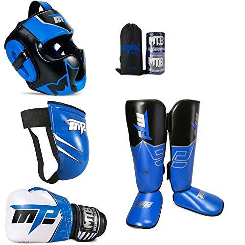 JXS Kids Boxing Kit-Boxhandschuhe, Kopfschutz, Beinschutz, Tiefschutz, Armband - Professional Boxing Sanda Karate Schutz Kit
