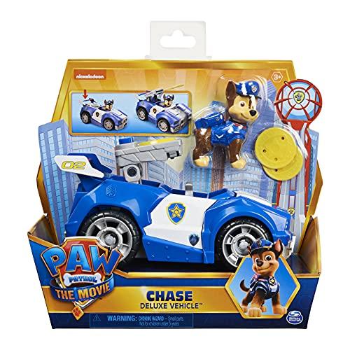 Paw Patrol Chases Deluxe podstawowy pojazd z filmu kinowego z figurką psa, samochodzikiem zabawkowym, od 3 lat
