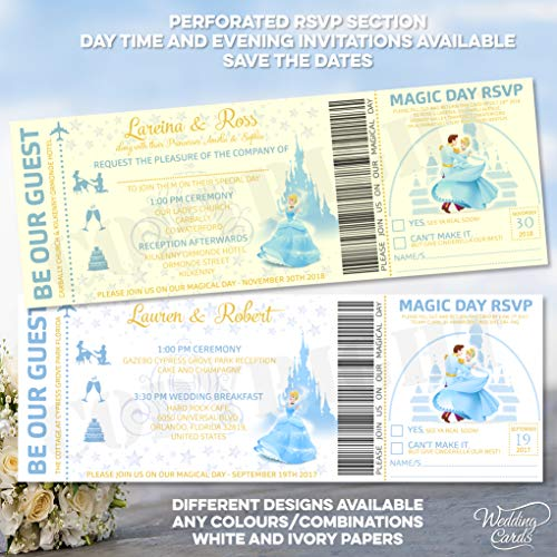 Invitaciones personalizadas para bodas, fiestas, cumpleaños, de Disney, Cenicienta, Mickey, Minnie, Ariel,...