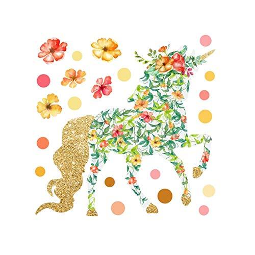 MIYAA Kind Wandaufkleber,Cartoon Bemalte Einhorn Polka Dot Blume Öl Gemälde Tapeten DIY Vinyl Home...