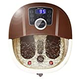 COSTWAY Foot Spa/Bath Massager, with Shiatsu Roller Massage, Heat, Frequency Conversion, Red Light, Adjustable Time & Temperature, Air Bubble, LED Display, Drainage Pipe (Brown)