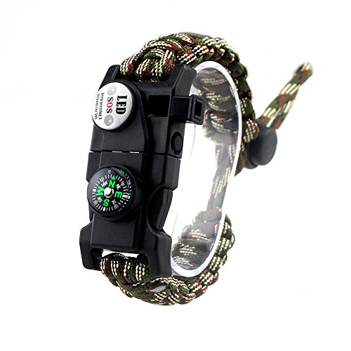 MansWill Adjustable Survival Bracelet, 7 Core Paracord 20 in 1 Emergency Sports Wristband Gear Kit Waterproof LED SOS Light, Compass, Rescue Whistle, Fire Starter Multi-Tool Wilderness Adventure