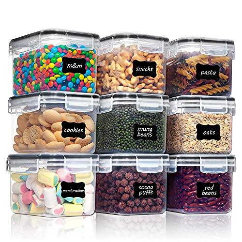 Vtopmart 0.8L boîtes de Conservation Alimentaire sans BPA de Nourriture en Plastique avec Couvercle,Ensemble De 9+24 Étiquettes,pour Céréales,Farine (Noir)
