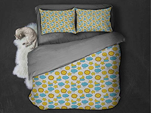 Toopeek Baby Extra large quilt cover Sleepy Morning and Night for Kids Boys Girls Moon Rainy Clouds Stars Sun Can be used as a quilt cover-lightweight (Queen) Earth Yellow Sky Blue