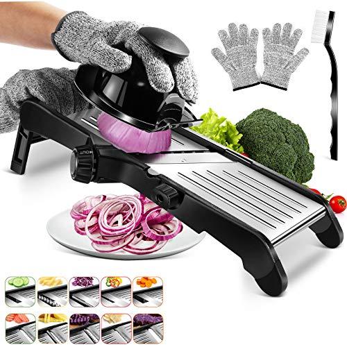 MASTERTOP Mandolina Multifuncional para Verduras, Cortador de Verduras de Cocina Ajustable de Acero Inoxidable para Cortar Alimentos, con Cuchillas Afiladas para 10 Formas Diferentes de Corte