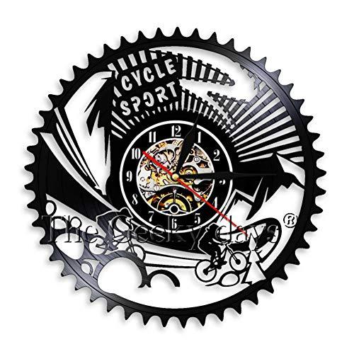 ttymei Reloj de Pared de Bicicleta de montaña Biker Silhouette Vinyl Wall Art Deco Racing Bike Rider Bike Clock Best Gift Idea