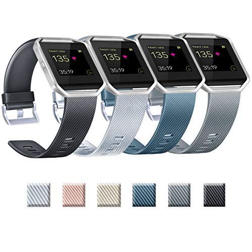 Yandu Correas de repuesto compatibles con Fitbit Blaze, no incluye Fitbit Blaze y marco (02 plateado+negro+pizarra+gris, L)