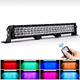 WEISIJI LED Light Bar 20inch 252W Straight 6000K Spot Flood Combo Beam RGB LED Work Light Bar Offroad 4x4 Jeep Truck ATV SUV 4WD Pickup Boat LED Driving Light Remote Control