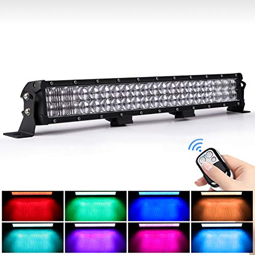 WEISIJI LED Light Bar 20inch 252W Straight 6000K Spot Flood Beam RGB LED Work Light Bar Compatible with LED Driving Light for Offroad Truck ATV SUV 4WD Pickup Boat Remote Control