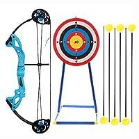 子供用アーチェリーセットコンパウンドボウ、6本の矢と1本のターゲットを備えた屋外で調整可能な射撃ロングボウ、子供用および大人用の屋内ガーデンゲーム,ブルー