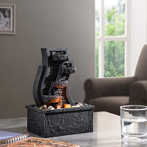 Peaktop Fuente de mesa de agua para interior con luces PT-TF0003-UK, color gris