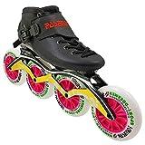 AIAIⓇ Chaussures de Skate de Vitesse en Fibre de Carbone Roller Rollers Adultes pour Femmes et Hommes Chaussures de Patins à Roues alignées 4X110mm Roues Black Boot