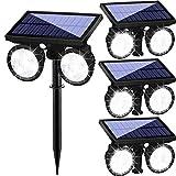 Lámpara solar para jardín con detector de movimiento, lámpara de pared solar con doble cabezal 24 LED, resistente al agua, giratorio 360°, luz solar de seguridad para jardín moderno, 4 unidades