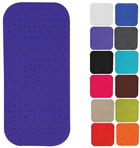 MSV Premium Duschmatte Badematte Badewannenmatte Badewanneneinlage antibakteriell rutschfest mit Saugnäpfen - Violett/Lila - duftet nach Rosen - ca. 36 x 97 cm - waschbar bei 60° Grad