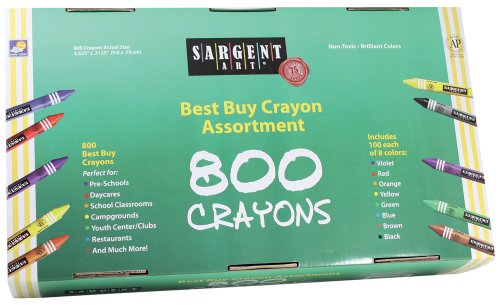 Sargent Art 800-Count Regular Crayon Class Pack, Best Buy Assortment, 55-3280