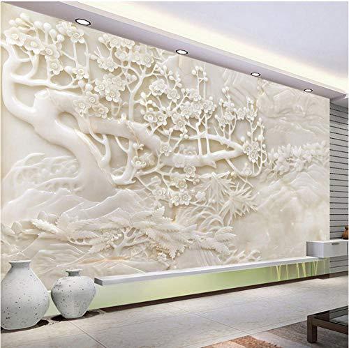 muurschildering foto huis aangepaste muurschildering wit reliëf pruik bloem hert 3D poster woonkamer slaapkamer achtergrond foto muur papier 3D modern decor