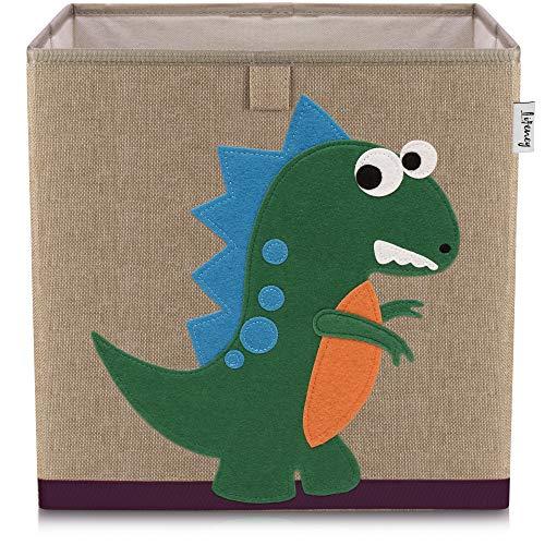 Lifeney Kinder Aufbewahrungsbox I praktische Aufbewahrungsbox für jedes Kinderzimmer I Kinder Spielkiste I Niedliche Spielzeugbox I Korb zur Aufbewahrung von Kinder Spielsachen (Dino 2 dunkel)