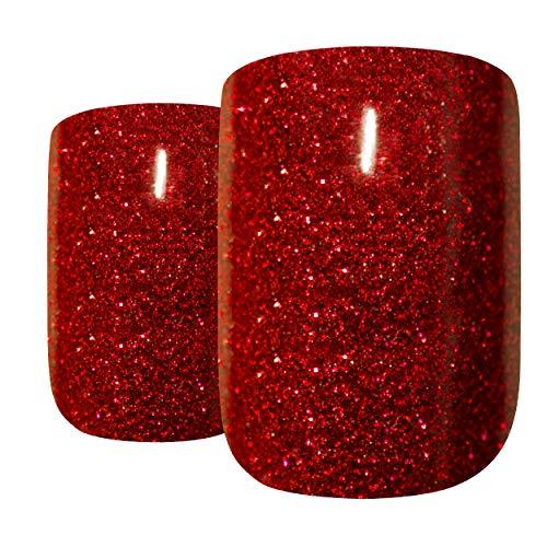 False Nails Bling Art French Fake Red Gel Glitter Squoval 24 Acrylic Medium Tips