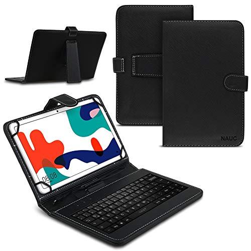 Tablet Hülle kompatibel für Huawei MatePad T10 / T10s Tasche Tastatur Keyboard QWERTZ Schutzhülle Cover Standfunktion USB Schutz Case