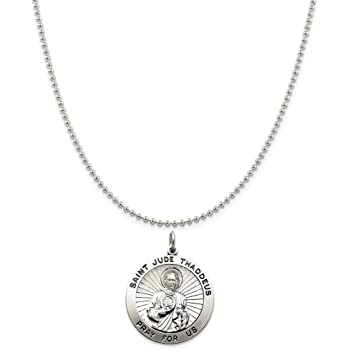 Snake or Ball Chain Necklace Sterling Silver Antiqued Our Lady Of Guadalupe Medal on a Sterling Silver Cable
