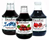 Red Tart Cherry, Wild Blueberry and Pomegranate Juice Concentrate by FruitFast | 1 Quart of Each | 100% Pure, Non-GMO, Gluten and BPA Free, Kosher Certified