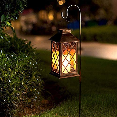 Eigreen Hanging Solar Lantern Lights PVC Outdoor Waterproof LED Flickering Flameless Candle Decorative Solar Lantern , for Patio Courtyard Garden (1pack)